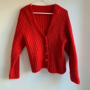 Vintage Red Fuzzy Cardigan
